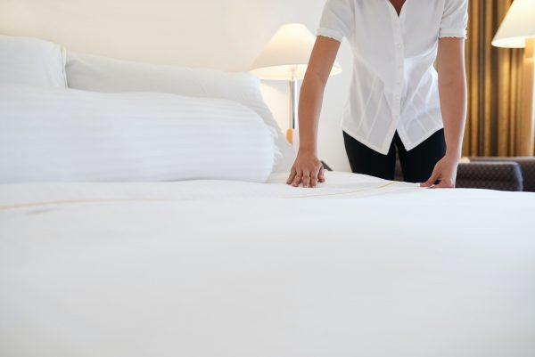 Covering bed with blanket